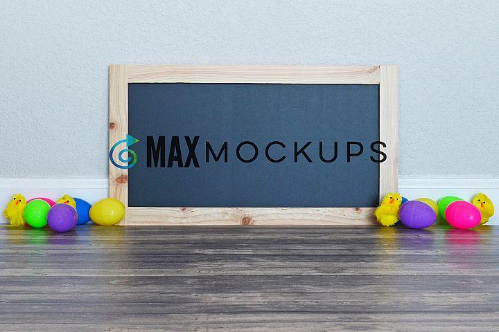 Framed Chalkboard Sign Mockup, Easter eggs