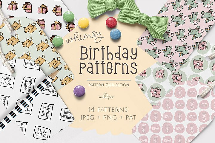 Whimsical animal birthday pattern collection