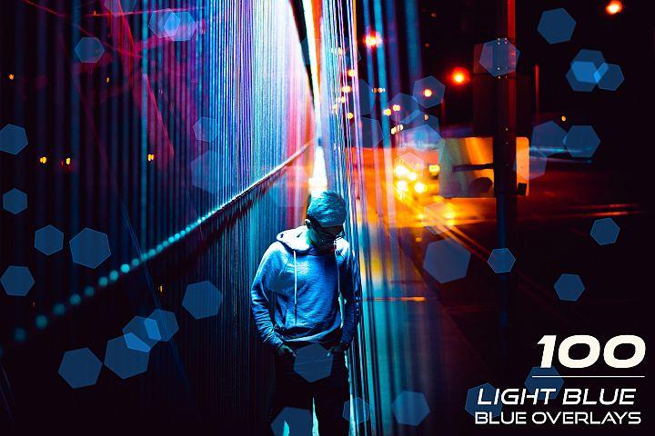 100 Light Blue Bokeh Overlays