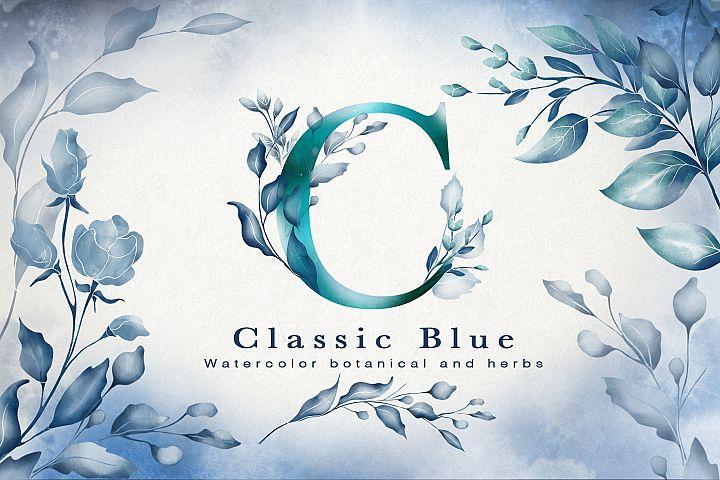 Classic Blue Watercolor Botanical