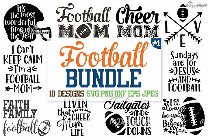 Football SVG Bundle, Football Mom Bundle, Mama, SVG, PNG DXF