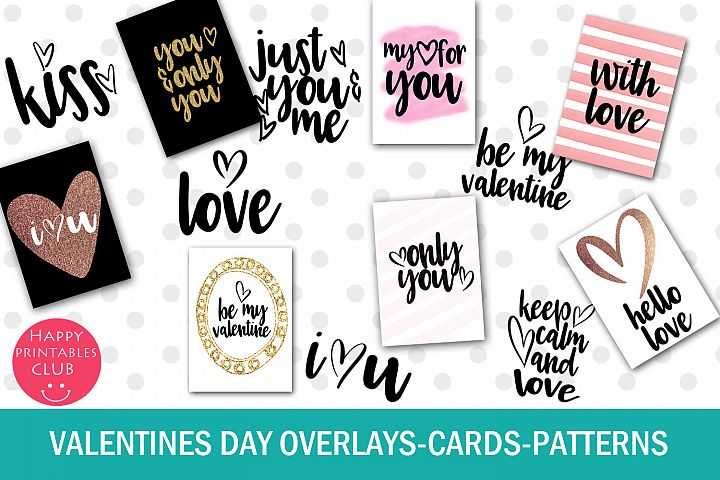 Valentines Day Text Overlays- Valentine Cards- Patterns