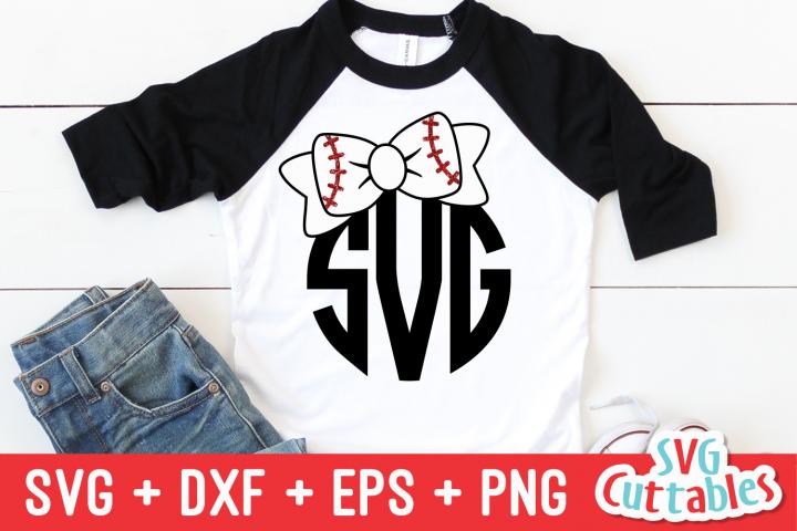 Bow Monogram Frame | Baseball | Softball | SVG Cut File