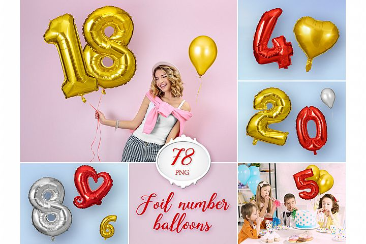 78 Foil Number Balloon Photo Overlays