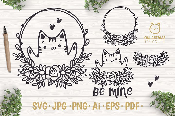 Valentine Cat svg , Kitten with floral decor Svg, Valentine