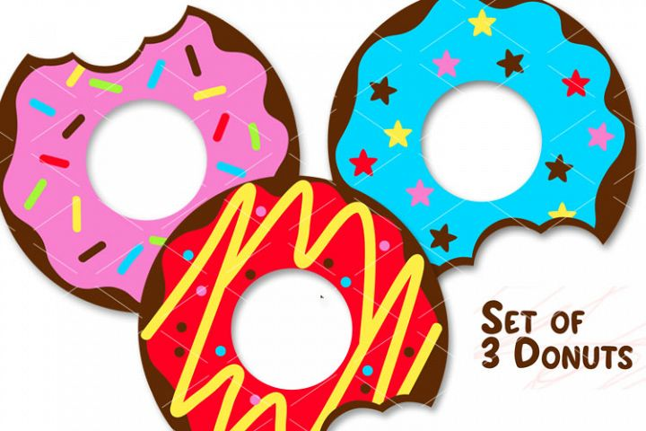 Donuts Set of 3 prints Donut svg Food Bakery Coffee Clipart