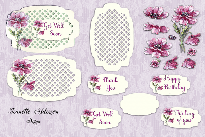 Mauve Vintage flower decoupage card with a trellis topper