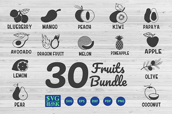 Fruits SVG Silhouette Bundle 30 clipart vector Cut FIle