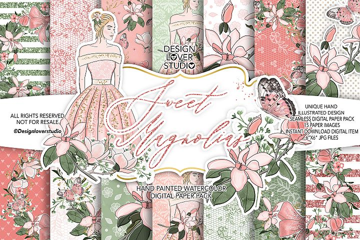 Sweet Magnolias digital paper pack