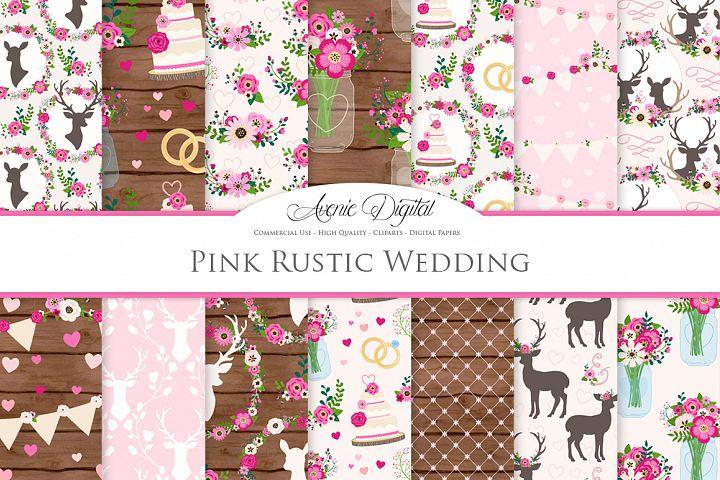Hot Pink Rustic Wedding Digital Paper - Bright Pink Rustic Deer Wedding Seamless Patterns
