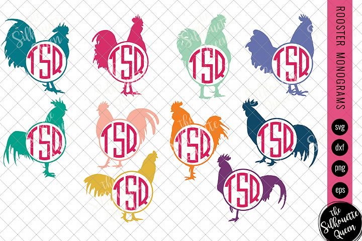 Rooster Svg, Monogram Svg, Chicken Circle Frames, Cuttable D