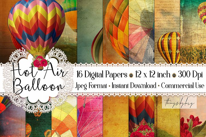 16 Antique Hot Air Balloons Travel Journal Digital Papers