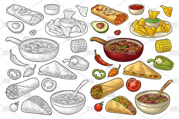 Mexican food set Burrito, Tacos, Nachos vintage engraving