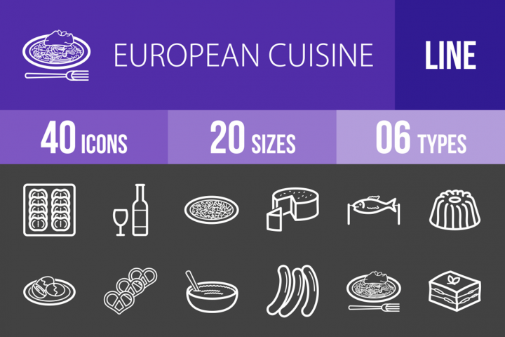 40 European Cuisine Line Inverted Icons