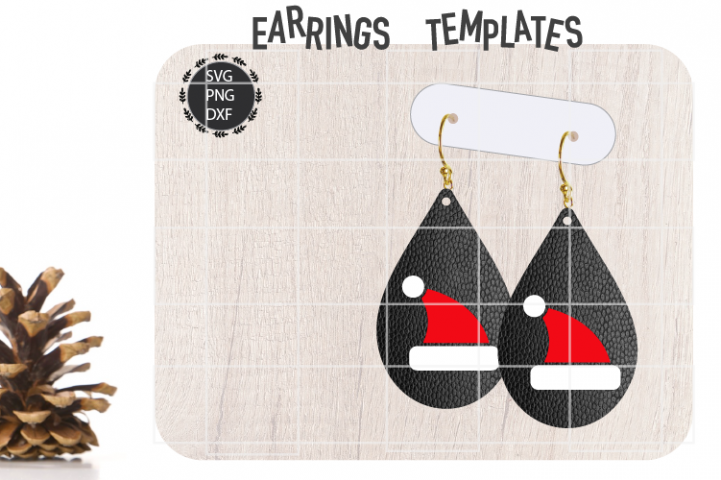 Santa Hat Earrings Svg, Christmas Earrings Svg Template