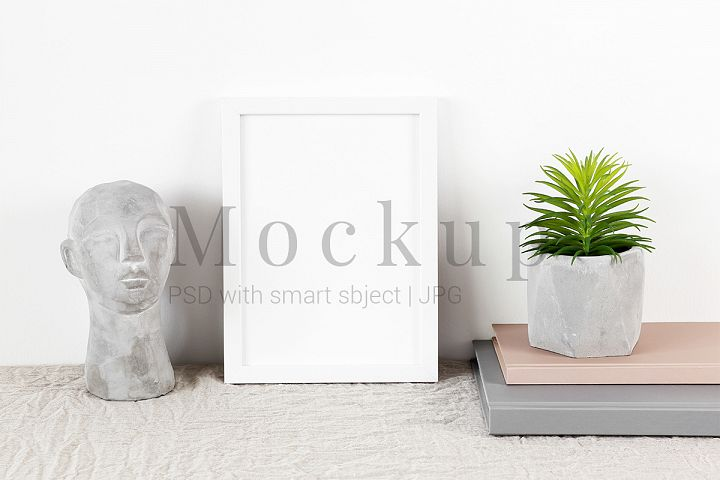 White Photo Frame Mockup, Cement Head