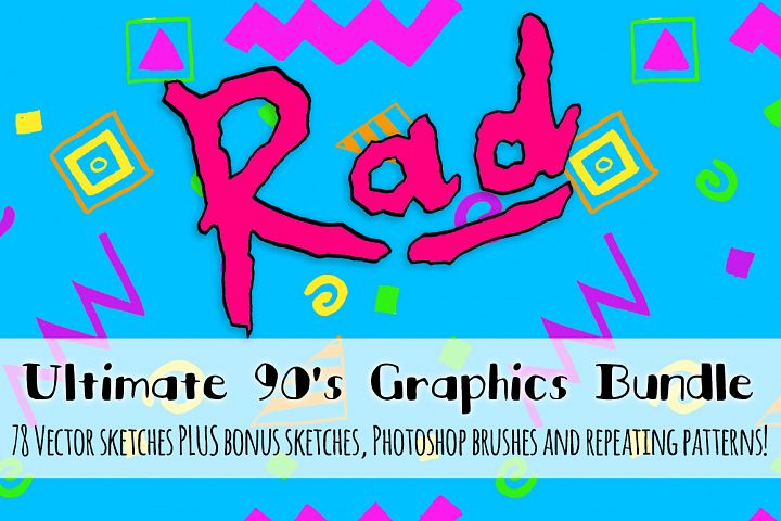 Super Rad 1990s Style Vector Sketch Pattern Kit