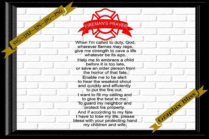 Firemans Prayer Fire Fighter Badge Digital Download SVG