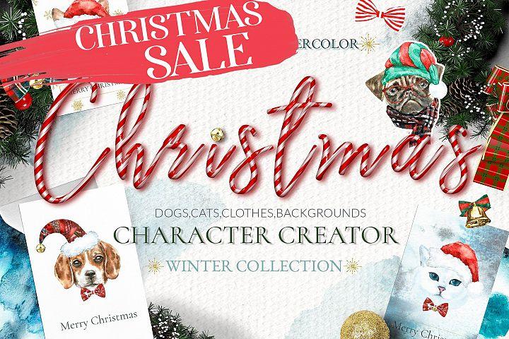 Christmas Animal Creator.Watercolor Dogs & Cats