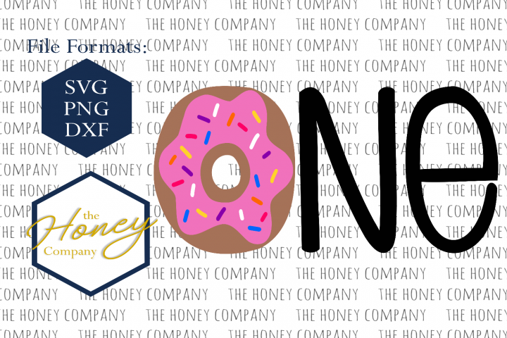 Donut SVG PNG DXF One First Birthday Sprinkles Hand Lettered Instant Download Silhouette Cricut Cut File Vector File