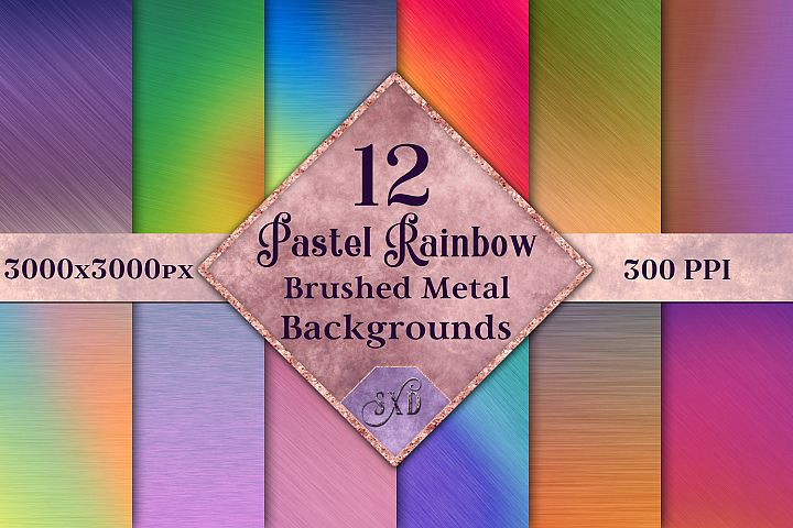 Pastel Rainbow Brushed Metal-Style Backgrounds / Textures