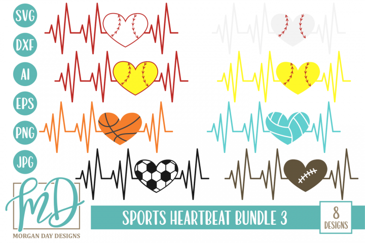 Sports Heartbeat Bundle 3 SVG, DXF, AI, EPS, PNG, JPEG