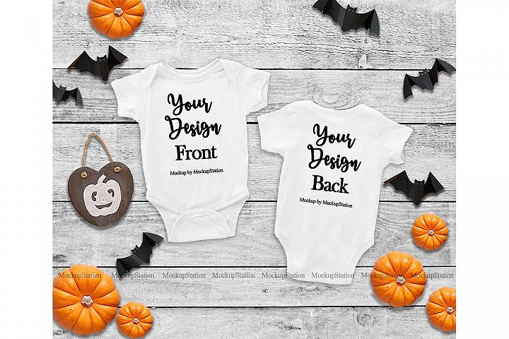 Baby Front & Back White Bodysuit Mockup, Halloween Mock Up