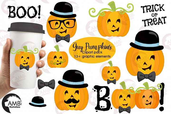 Guy Pumpkins clipart, graphics and illustrations AMB-2466
