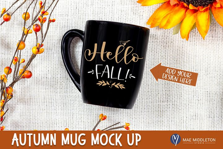 Fall / Autumn / Thanksgiving Black Mug Mock up