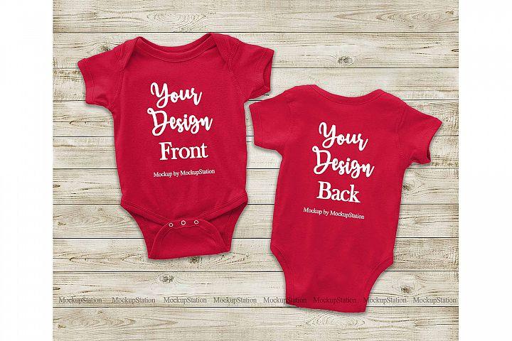 Red Front & Back Baby Bodysuit Mockup, Toddler Mock Up