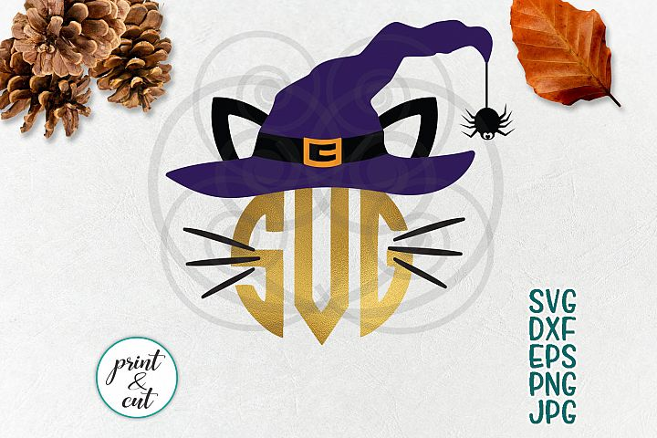 Halloween cat face circle monogram svg colored layered file