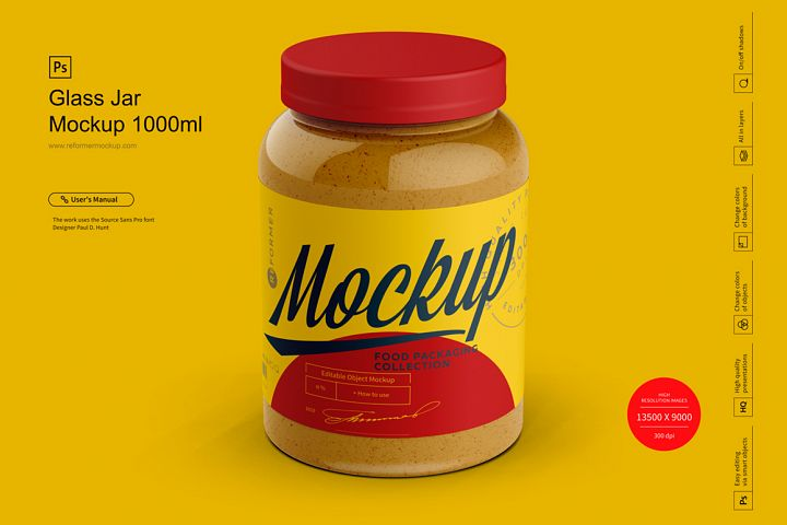 Glass Jar Mockup 1000ml