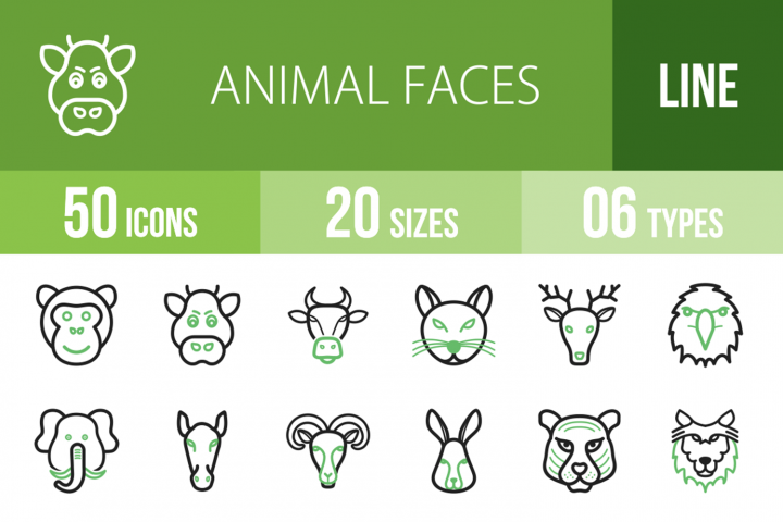 50 Animal Faces Line Green & Black Icons