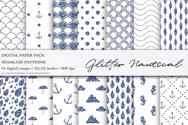 Glitter Nautical Digital Papers, Glitter Mermaid Patterns