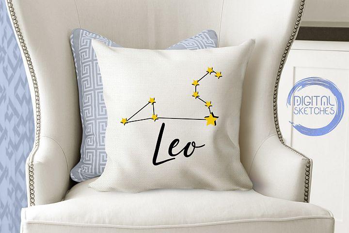 Leo Zodiac Vector Graphic, Constellation SVG, Astrology Lion