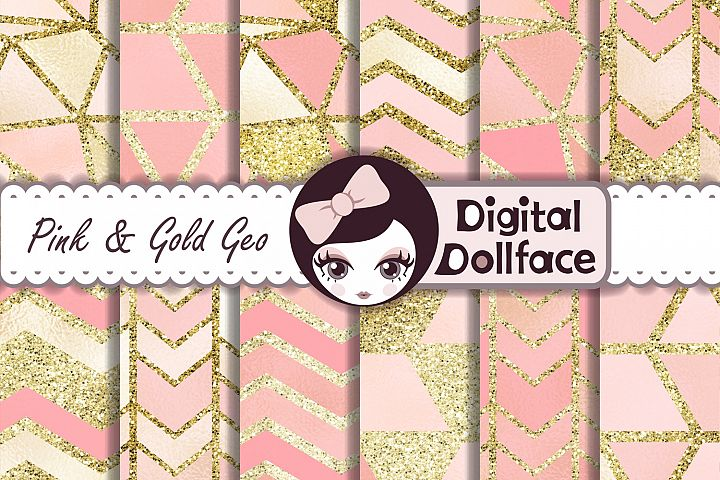 Pink and Gold Geo Digital Paper