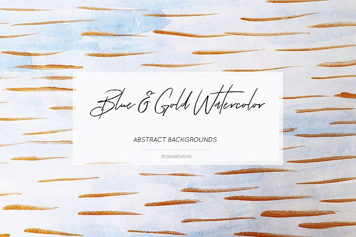 Blue Gold Abstract Background,Watercolor Digital Papers