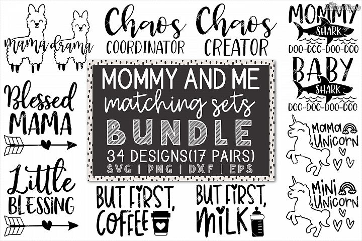 Mommy And Me SVG Bundle of 34 Designs - DXF PNG Cut Files