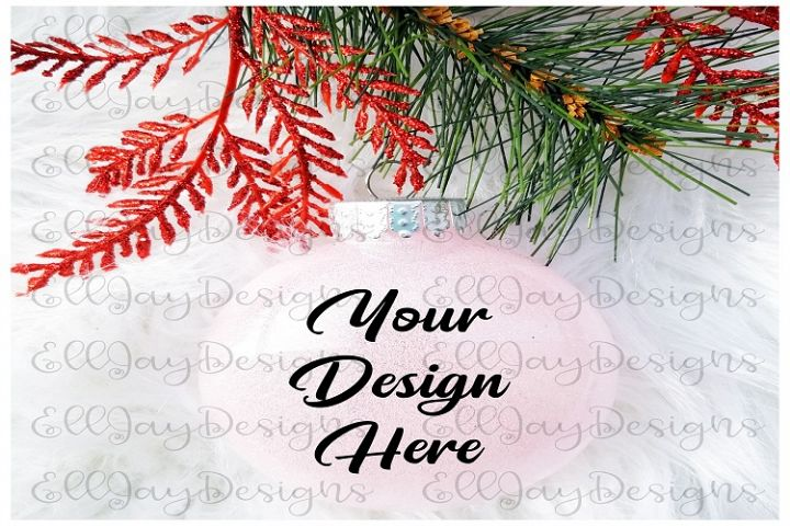 Light Pink Christmas Glitter Ornament Mock up