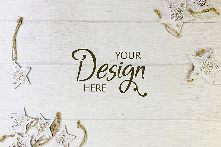 Styled Desk On White Shabby Wood background Xmas decorations