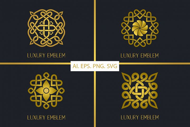 Gold Luxury Emblem - Vector