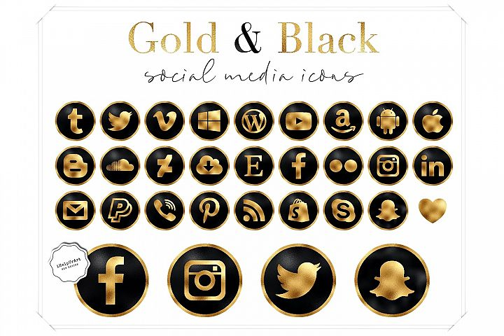 Black and gold social media icons