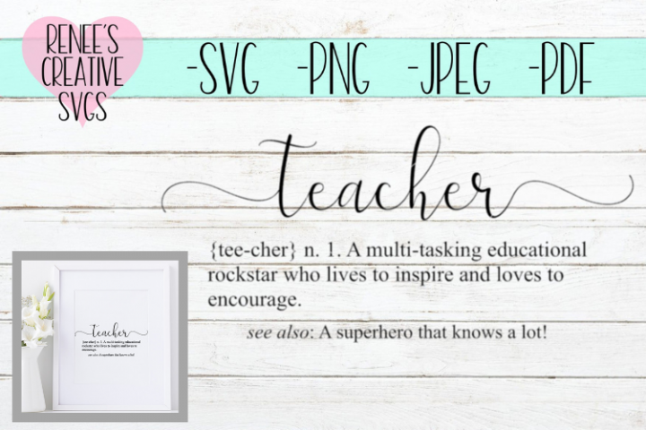 Definition of Teacher| Quote | SVG Cutting File