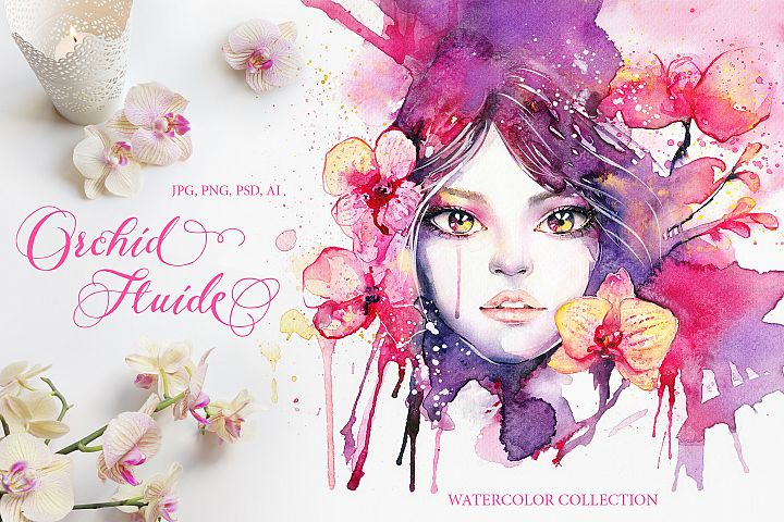Orchid Fluide Watercolor Collection