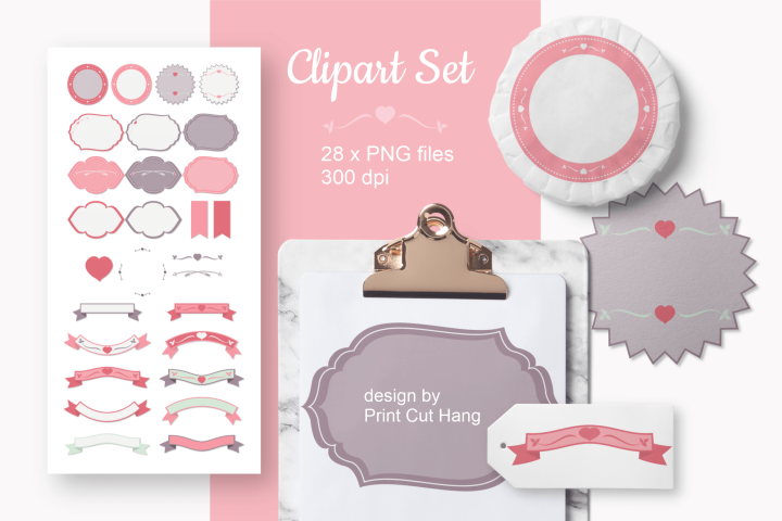Decorative Elements Valentine Clip Art Set of 28 PNG files