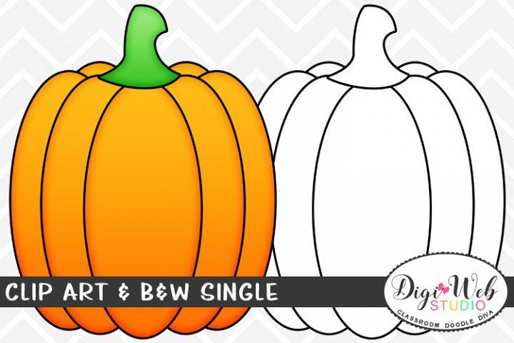 Clip Art & B&W Single - A Fall Pumpkin