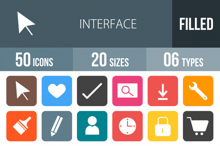 50 Interface Filled Round Corner Icons