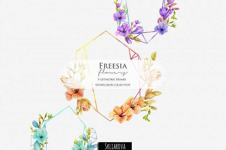 Freesia. 5 geometric frames