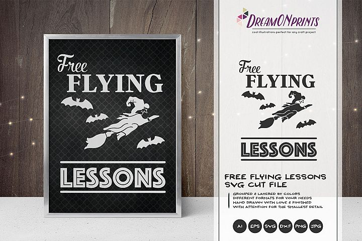 Free Flying Lessons| Witch SVG | Halloween SVG Cut File