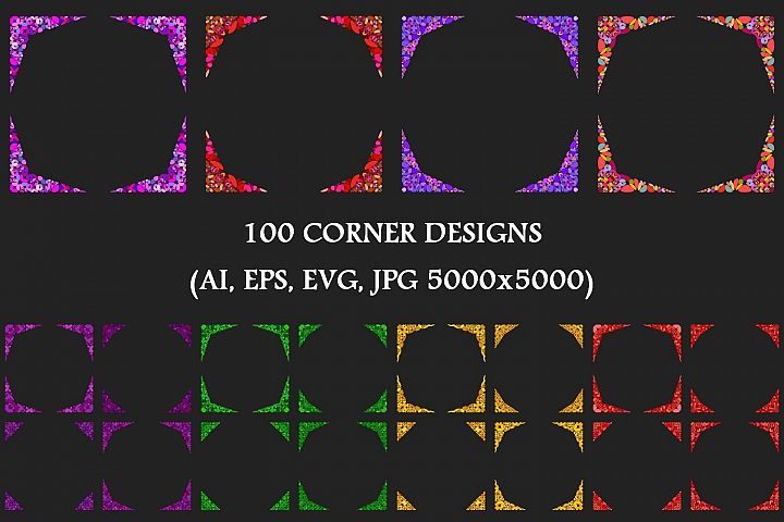 100 Stone Mosaic Corners - AI, EPS, SVG, JPG